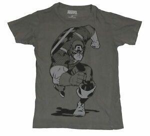 Captain America (Marvel Comics) Mens T-Shirt - Charging Cap Running Image