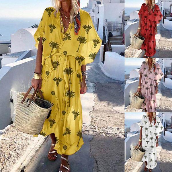 NIBESSER 2019 Fashion Women Summer V Neck Vintage Boho Long Maxi Floral Chiffon Dress Beach Smock Dress Lace Up Floral Sundress