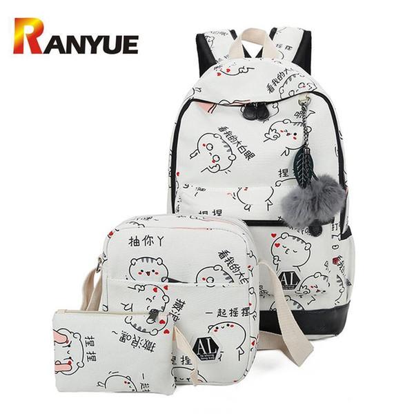 2Set/Pcs Women Backpacks School Bag For Teenage Girls Cute Cat Printting Backpack Big Capacity Canvas Backpack Laptop Travel Bag
