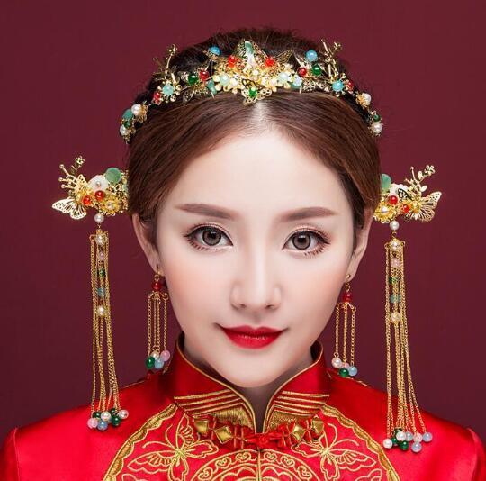 Chinese bride wedding dress headdress Coronet Xiuhe dragon gown headdress costume Hanfu hairpins jewelry hoop