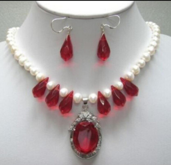 Collana New 8-10mm White Pearl / Red Crystal NecklaceDangle Earrings Pendant Jewelry Set