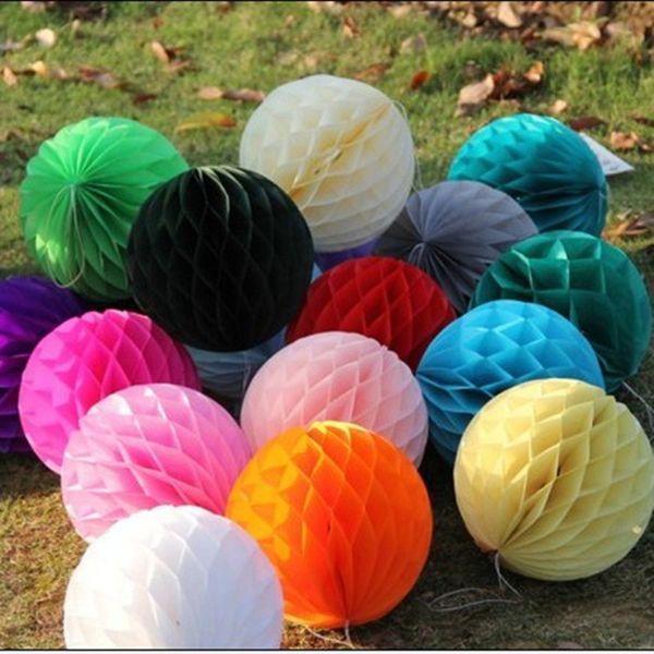 AJP 10 unids / lote Tissue Paper Flower ball Honeycomb Lantern decoración de la boda suministros de vacaciones al por mayor