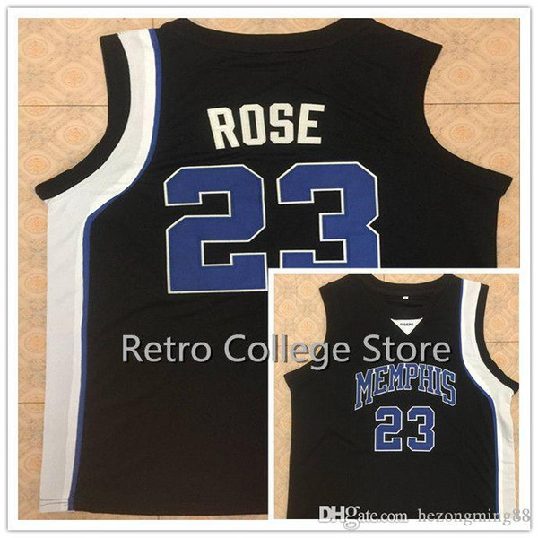 0015801d2 #23 Derrick Rose Memphis Tigers White Blue black Men's Embroidery Stitched  Basketball Jersey Custom any name and number
