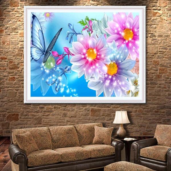 Diy 5d Diamond Painting Round Diamond Rhinestone Flowers Diamond Embroidery Cross Stitch Kit Mosaic Home Decoration Craft Wall Art