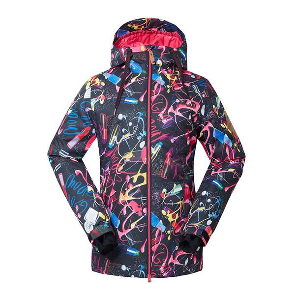 Gsou NIEVE nueva señora de esquí Traje Junta Individual Doble Esquí chaqueta al aire libre a prueba de viento caliente impermeable y transpirable esquí Escudo del tamaño XS-L