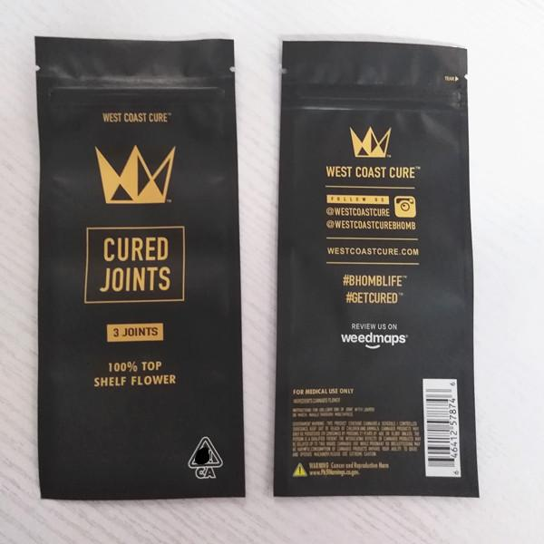 best selling empty west coast cure cured joint 3 joints 1 joint packaging zip lock bag pre roll joint tube packaing for 115mm 116mm tube