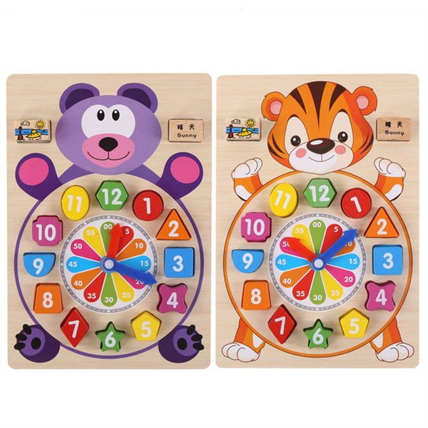 Baby Toys Wooden Block Clock Building Blocks Education Montessori Table Game Kids Toy for Children Teaching Gifts