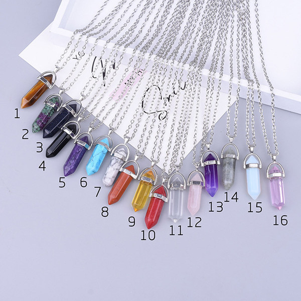 16 styles Natural Crystal Pendant Necklaces Opalite White Howlite Lapis Clear Quartz Crystal Aventurine Crystal Pendant