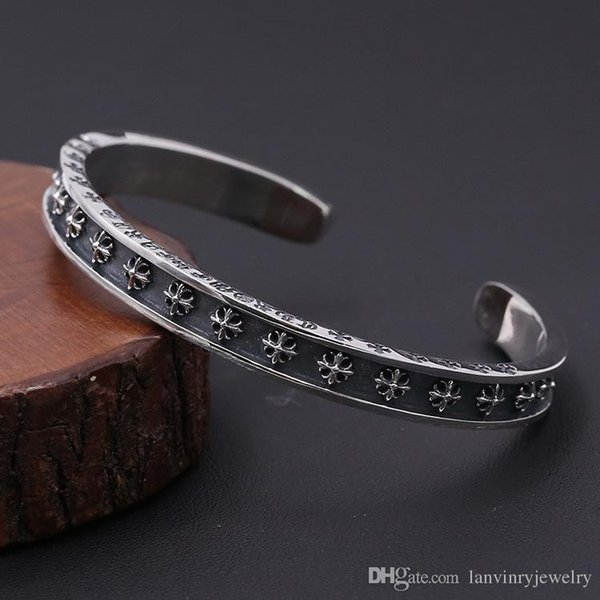Brand new 925 sterling silver vintage American jewelry antique silver hand-made designer crosses engraved all over open bangles