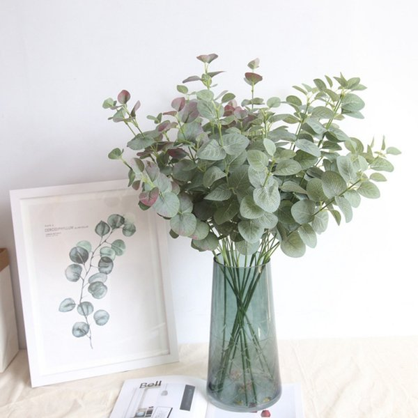 Hot Green Artificial Leaves Large Eucalyptus Leaf Plants Wall Material Decorative Fake Plants For Home Garden Party Decor