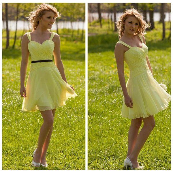 2019 spaghetti a-line short chiffon mini junior bridesmaids dresses surplice spring vestidos de bridesmaid honor of maid cheap