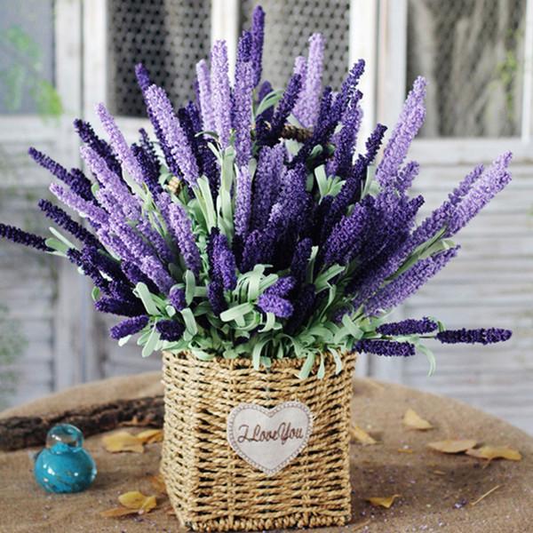 Simulação Flor Provence Lavanda 12 Cabeças Flores Flores de Espuma De Flores Artificiais Adorno Em Casa Decoração Do Casamento Em Casa