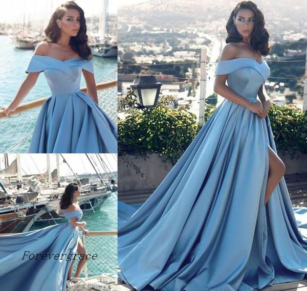2019 Арабский Светло-Голубое Вечернее Вечернее Платье Дешевые Линия С Плечами Сплит Длинное Вечернее Платье Вечернее Платье На Заказ Плюс Размер
