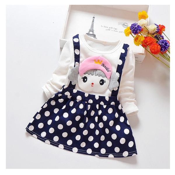 good quality Girl Wave point Dress 2019 New Spring Dresses Children Clothing Princess Dress cute cartoon Design 1-5 Years Girl Cloth