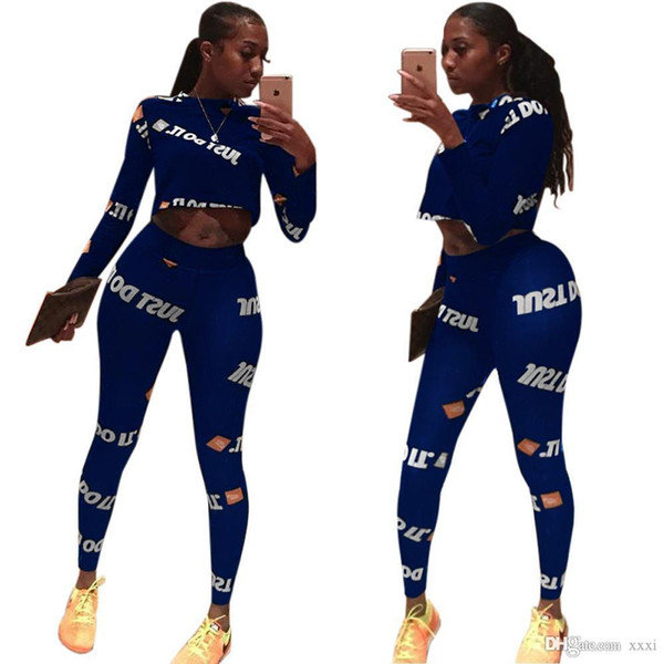 19ss women it tracksuits 2pcs short suits outfits long sleeve pullover sweatshirt leggings jogger yoga clothing sportwear