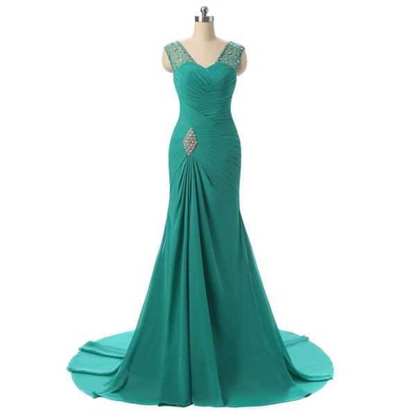 Personalizado longo chiffon sereia vestidos de dama de honra barato com decote em v até o chão vestidos de baile até o chão da dama de honra frisado vestido de festa de casamento