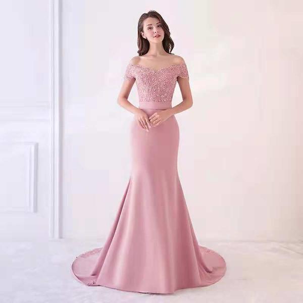 Vestidos de noche de sirena rosa 2019 fuera del hombro con lentejuelas apliques bordados hechos a mano con cuentas de encaje vestidos de noche formales vestidos de baile