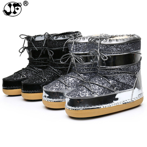 2019 Snow Boots Winter Ankle Boots Women Shoes Fur Warm Boots Female Plus Size Casual Shoes Platform Non Slip Gold Bling Lack Up