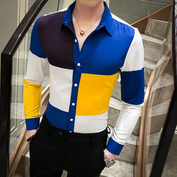 Contraste Color de los hombres camisa de manga larga camisola remiendo delgado homme Equipada Tops 2020 nuevo de la manera británica Fantasía Camisa fresca masculina