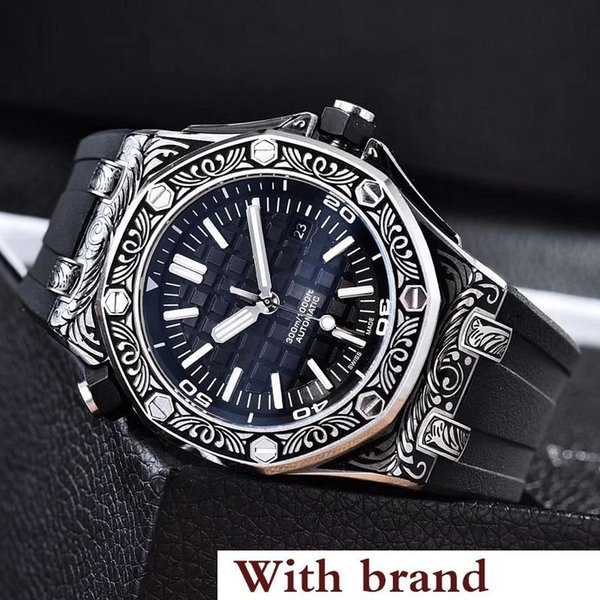Nueva caja de acero inoxidable de lujo con correa de reloj de goma mecánico automático para hombre relojes para hombre