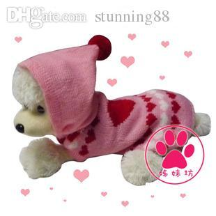 Wholesale-Hot sale Free shipping ,2015 New,Pet Sweater with Cap,pet coat for dog or cat, pet clothing,winter, 4 Sizes S M L XL Pink