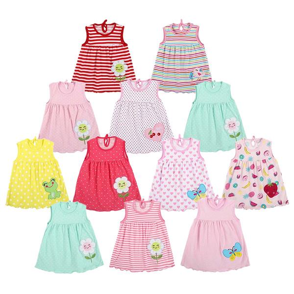 Nouveau-né Bébé Fille Été Robe De Coton Mignon O-cou à rayures robe d/'été Vêtements