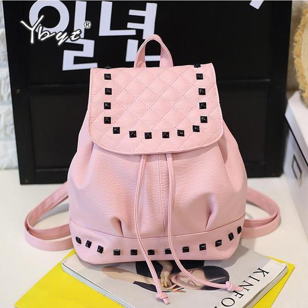 Women Pu Leather Student School Backpacks Joker Leisure Stylish Backpack Rivet Bag Simple Shopping Pack Lady String Rucksack