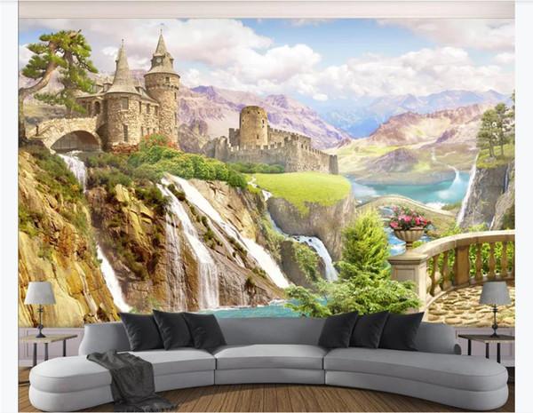 Customized 3d mural wallpaper photo wall paper Garden castle landscape 3d bedroom sofa background mural wallpaper for walls 3d