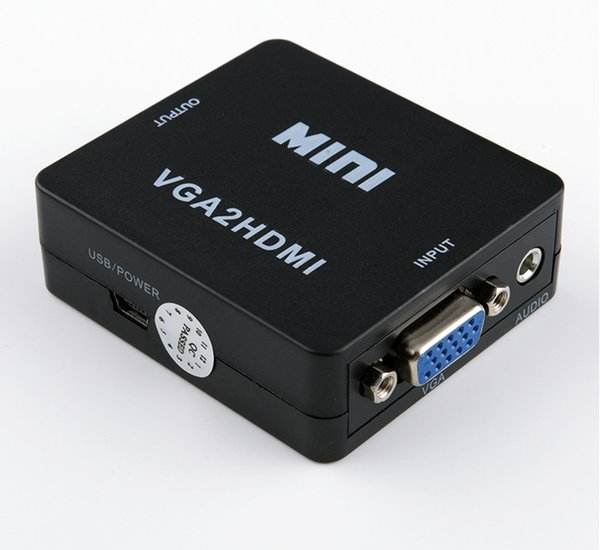 Конвертер VGA в HDMI с аудио VGA2HDMI 1080P Разъем адаптера для ноутбука с ПК на проектор HDTV VGA 2 Конвертер HDMI 30 шт. / Лот