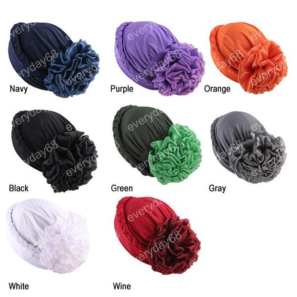 Chapeaux à la mode femmes Big Flower Turban Bandana Nouveau style tressé headwrap Lait Africain Soie Head Wrap Twist Hair Band Accessoires