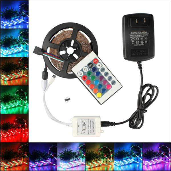 High Birght 5M 3528 SMD Led Strips Light Warm / Pure White Red Green RGB Waterproof IP65 Flessibile 5M / Roll 300 LED 12V nastro esterno