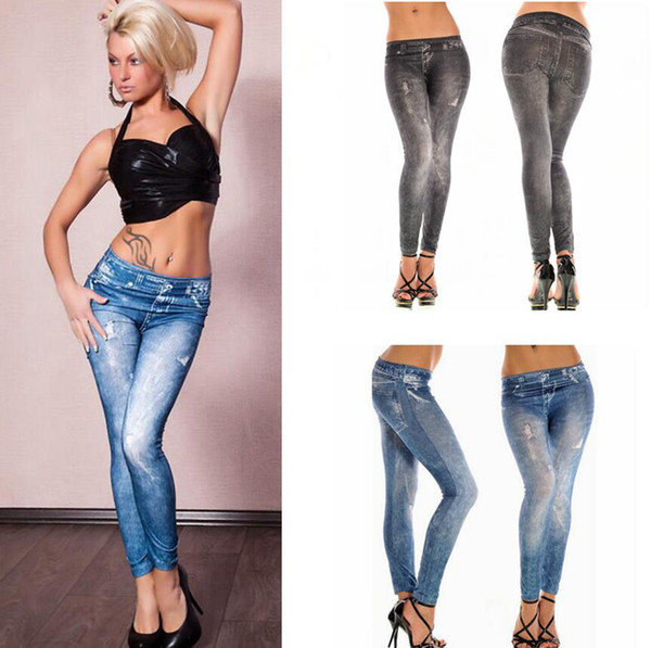 Frauen weiche Strumpfhosen Leggings Frau Jeans Denim nahtlose Gamaschen dünne reizvolle Hosen nehmen Stretchhose Bottom