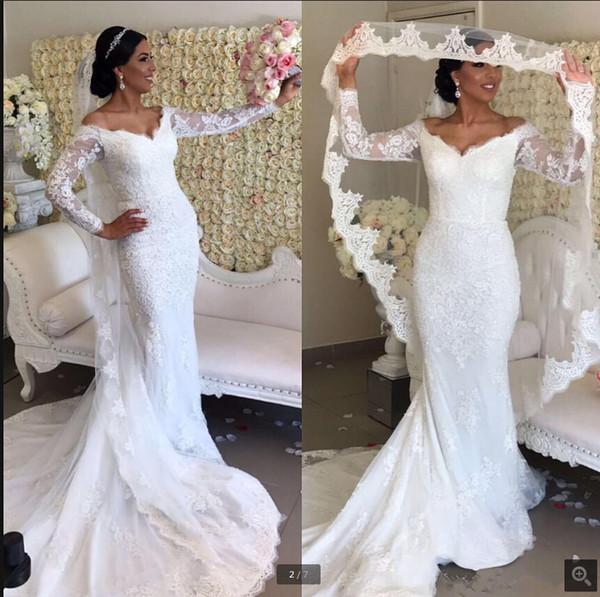 Vintage Mermaid 2019 Long Sleeve Wedding Dresses V neck Off the shoulder Illusion Lace Applique Custom Bridal Gowns Robe De Mariage