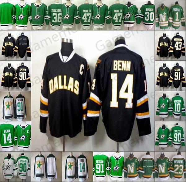 Dallas Stars 14 Jamie Benn 47 Alexander Radulov 91 Seguin 10 Brenden Morrow 23 Esa Lindell Hockey Hombres cosido Jersey