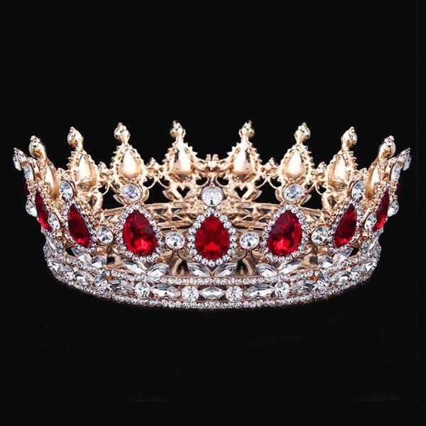 Big Round Tiaras Crowns For Queen King Bride Tiara Crown Headdress Crystal Diadem Prom Wedding Hair Jewelry Bridal Accessories Y19061503