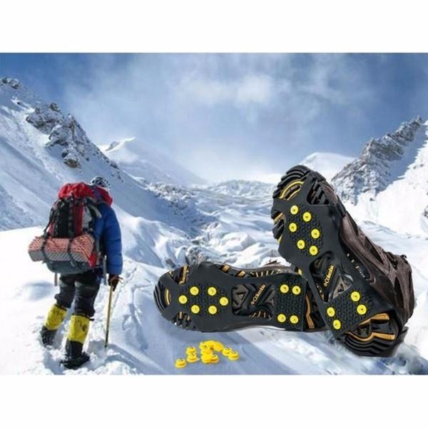 Антипробуксовочный лед снег захваты над ботинком ботинок тягового зажима резиновые шипы 10-шпильки кошки скольжения на стрейч обувь
