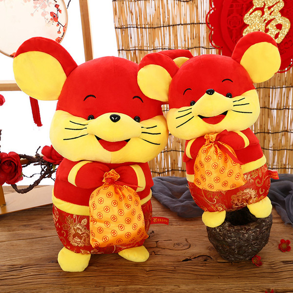 Chinese Year of the Rat Mascot Mouse Dolls Tang Pack Fortune Mouse Plush Toys Holiday Celebration Activities Welfare Favor kids Toys RRA2443