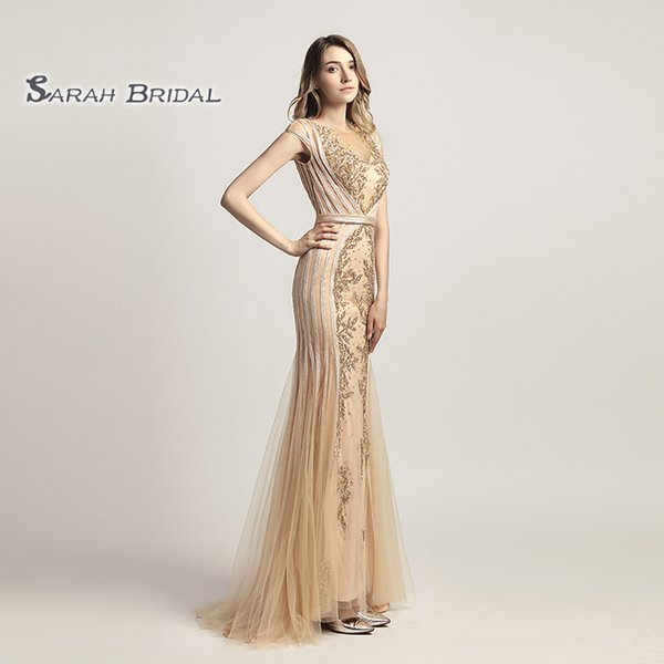 Luxury Tulle Gold Grey Mermaid Crystals Prom Party Dresses 2019 Sexy Sheer Bodice Elegant Vestidos De Festa Evening Occasion Gown LX296