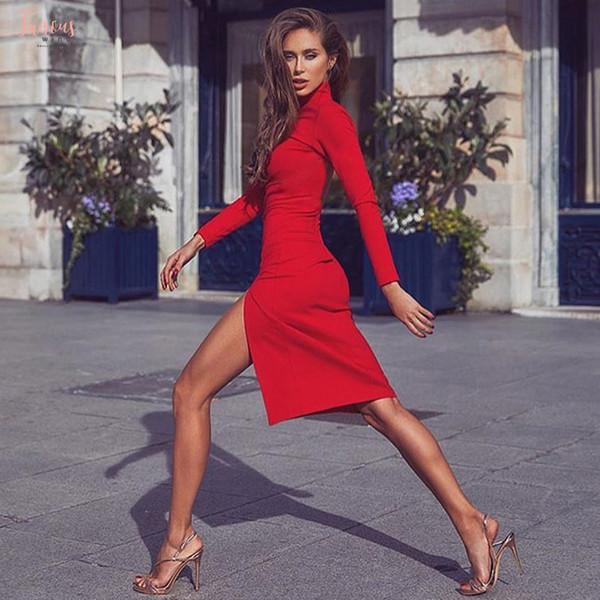 Женщины Зимних платьев осени Sexy Bodycon с длинным рукавом для Elegant Midi Pencil платья Трикотажных женщин Женского дизайнера одежды