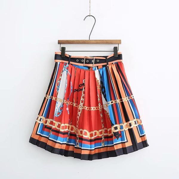 Acheter Femmes Mode Position Chaîne Imprimer Angleterre Jupe Plissée Faldas Mujer Dames Coloré Rayures Réglables Ceintures Jupes Qun241 Y19043002 De