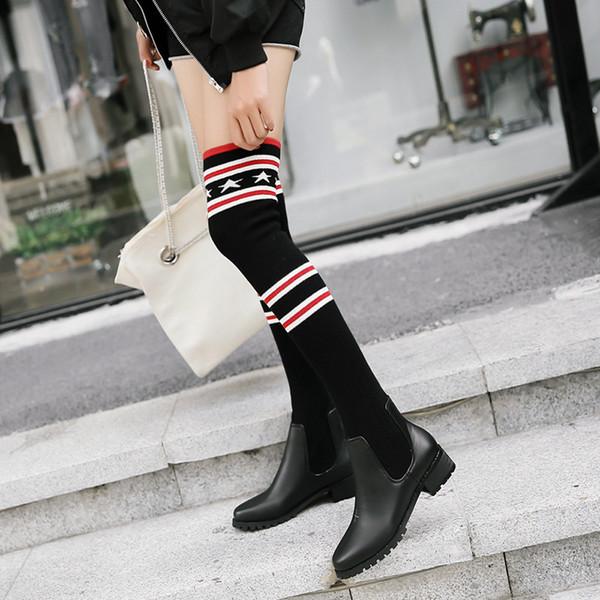2.020 forza elastica delle donne del nuovo di modo calzini Boots Sexy Ladies Slim gamba sopra il ginocchio Stivali Ragazze Snow Boots Designer di marca dei pattini casuali A27