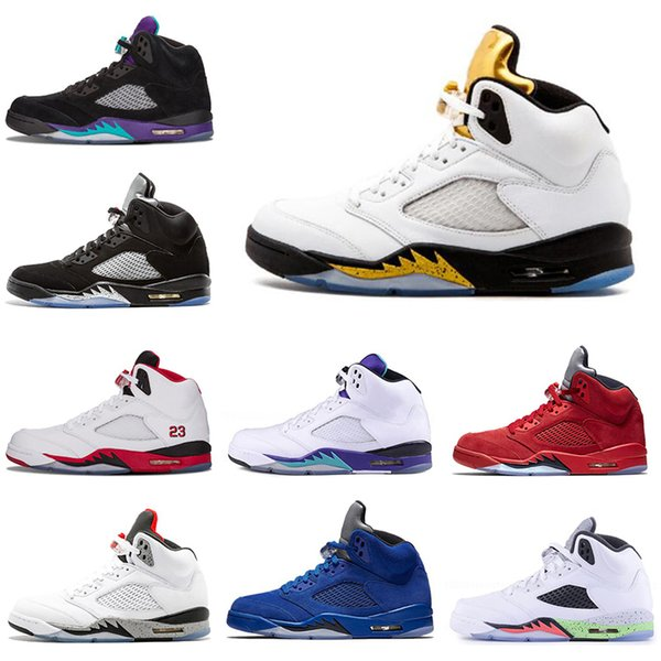 Hot mens Basketball shoes 5 5s Black Grape White Cement Oreo Olympic Gold Medal Space Jam Blue Fire Red Sport Sneakers size 7-13