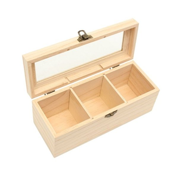 Wood Caddies Bag Jewelry Organizer Chest Storage Box 3 Compartments Box Wood Sugar Packet Container