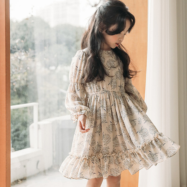 Chiffon Floral Pattern For Girls Of 12 10 11 14 2 4 6 Years Old High Quality Children Dresses 8 Year Long Sleeve Clothes J190618