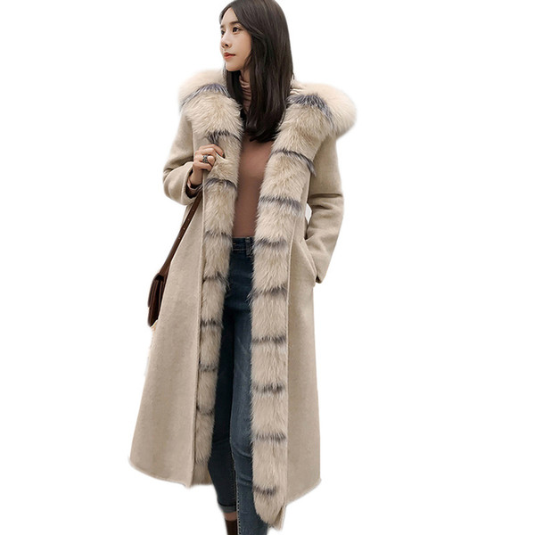 high quality cashmere wool coat women Long overcoat female Natural real fox fur collar Detachable Rex rabbit fur liner with Belt