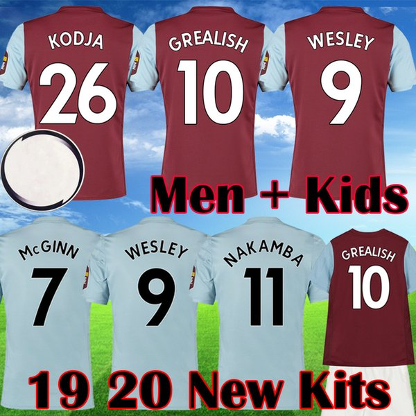 2019 2020 camisas de futebol novo Aston Villa WESLEY Grealish Kodja EL Ghazi CHESTER McGinn Targett Homens Crianças definir camisas de futebol 19 20 equipamentos