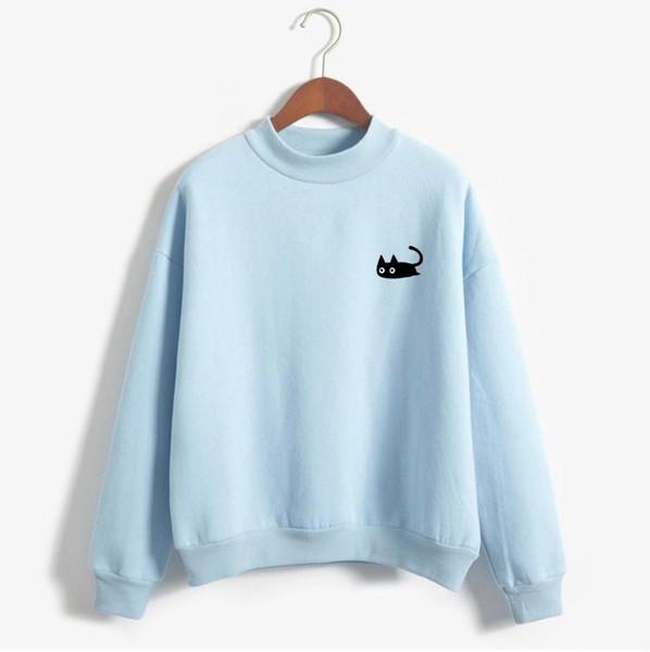 Autumn Casual Harajuku Kawaii Black Cat Sweatshirts Women Long Sleeve Turtleneck Tops Pullover Funny Cartoon Print Hoodies