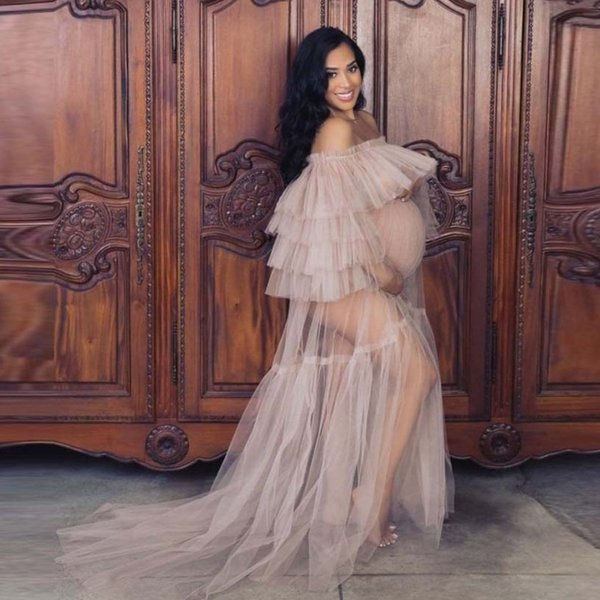 top popular See Through Women Party Dresses Cheap Off Shoulder Long Sleeves Tiered Tulle Ruffles Pregnant Photo Pregnant women photo outfit Prom Dress 2020