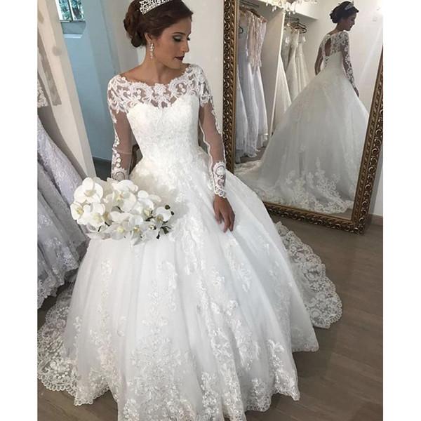 Vestidos De Casamento Sereia Moderno Vestido De Baile Vestidos De Casamento Nova Manga Comprida Scoop Neck Lace Applique Varredura Vestidos De