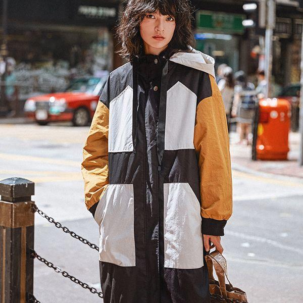 Gladself 2018 Frühling Herbst Mode Lässig Trench Cargo Farbe Verstärktes Khaki Schwarz Weiß Mit Kapuze Mantel Lange Windjacke für Frauen
